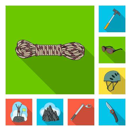 Mountaineering and climbing flat icons in set collection for design. Equipment and accessories vector symbol stock  illustration. Ilustração