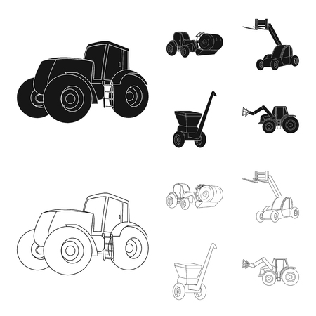 Tractor, hay balancer and other agricultural devices. Agricultural machinery set collection icons in black,outline style vector symbol stock illustration web.