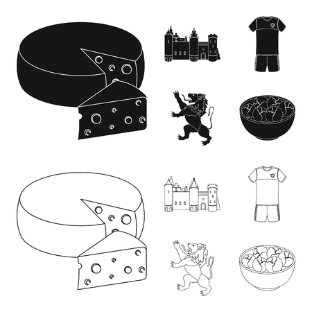 Cheese, lion and other symbols of the country.Belgium set collection icons in black,outline style vector symbol stock illustration web.