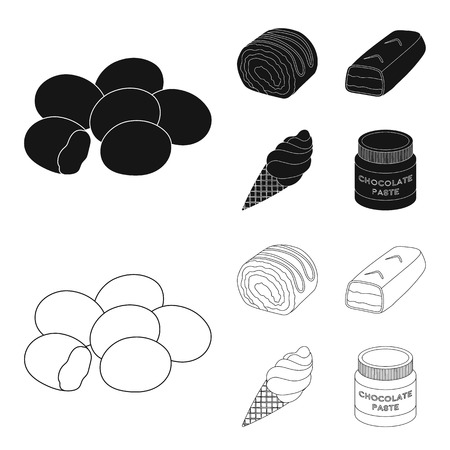 Dragee, roll, chocolate bar, ice cream. Chocolate desserts set collection icons in black,outline style vector symbol stock illustration web. Illustration