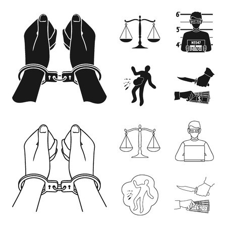 Handcuffs, scales of justice, hacker, crime scene.Crime set collection icons in black,outline style vector symbol stock illustration web.