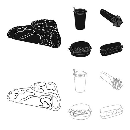 Fast, meal, eating and other web icon in black,outline style.Pancakes, flour, products, icons in set collection. Vettoriali
