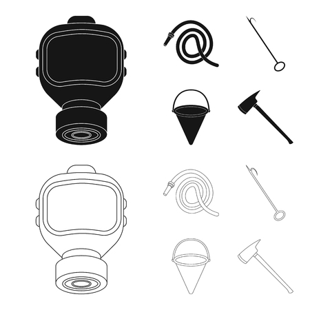 Gas mask, hose, bucket, bagore. Fire department set collection icons in black,outline style vector symbol stock illustration web.