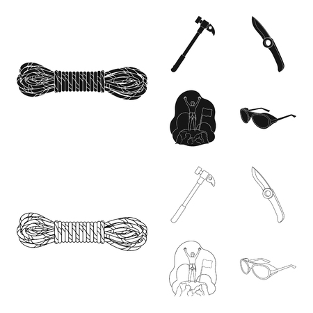 Climber on conquered top, coil of rope, knife, hammer.Mountaineering set collection icons in black,outline style vector symbol stock illustration web.