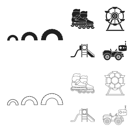 Ferris wheel with ladder, scooter. Playground set collection icons in black,outline style vector symbol stock illustration web.