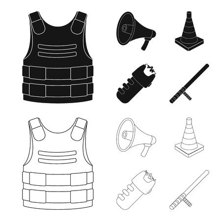 Bulletproof vest, megaphone, cone of fencing, electric shock. Police set collection icons in black,outline style vector symbol stock illustration web.