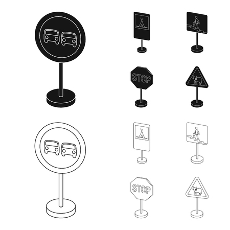 Different types of road signs black,outline icons in set collection for design. Warning and prohibition signs vector symbol stock  illustration. Archivio Fotografico - 102917591