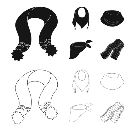 Various kinds of scarves, scarves and shawls. Scarves and shawls set collection icons in black,outline style vector symbol stock illustration .