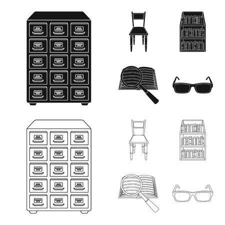 Cabinet with filing cabinet, chair, shelves, information search. Library and bookstore set collection icons in black,outline style vector symbol stock illustration . Illusztráció