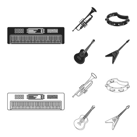 Electro organ, trumpet, tambourine, string guitar. Musical instruments set collection icons in black,outline style vector symbol stock illustration . Illustration