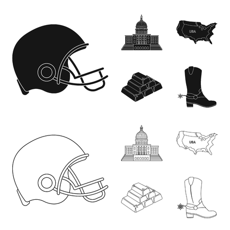 Football players helmet, capitol, territory map, gold and foreign exchange. USA country set collection icons in black,outline style vector symbol stock illustration .