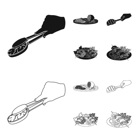 Tongs with steak, fried meat on a scoop, slicing lemon and olives, shish kebab on a plate with vegetables. Food and Cooking set collection icons in black,outline style vector symbol stock illustration .