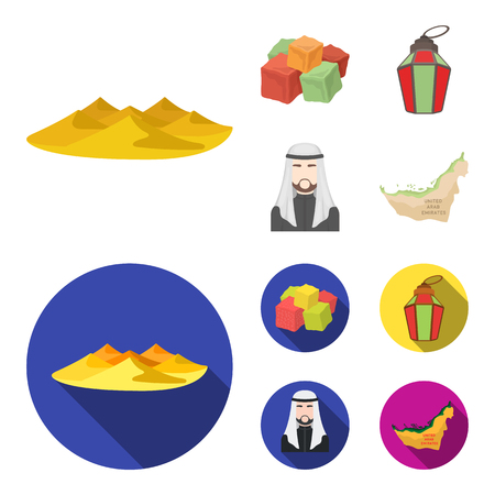 Eastern sweets, Ramadan lamp, Arab sheikh, territory.Arab emirates set collection icons in cartoon,flat style vector symbol stock illustration .