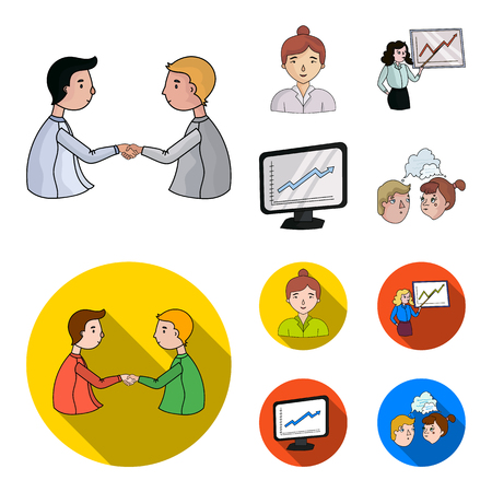 Businesswoman, growth charts, brainstorming.Business-conference and negotiations set collection icons in cartoon,flat style vector symbol stock illustration .