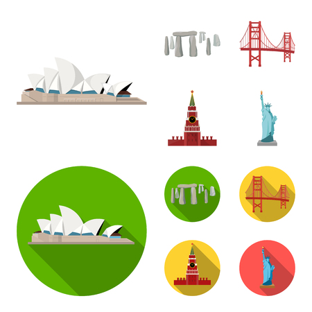 Sights of different countries cartoon,flat icons in set collection for design. Famous building vector symbol stock  illustration.