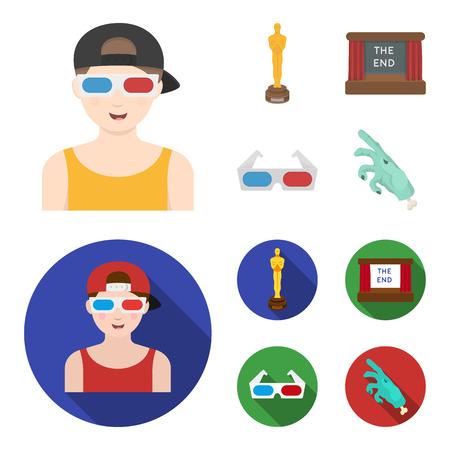 Award Oscar, filmscherm, 3D-bril. Films en film instellen collectie iconen in zwart, plat, zwart-wit stijl vector symbool stock illustratie web. Vector Illustratie