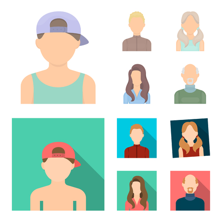 Boy blond, bald man, girl with tails, woman.Avatar set collection icons in cartoon,flat style vector symbol stock illustration .
