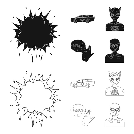 Explosion, fire, smoke and other  icon in black,outline style.Superman, superforce, cry, icons in set collection.