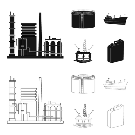 Oil refinery, tank, tanker, tower. Oil set collection icons in black,outline style vector symbol stock illustration .