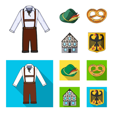 Country Germany cartoon,flat icons in set collection for design. Germany and landmark vector symbol stock  illustration. Ilustração