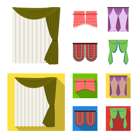 Curtains, stick, cornices, and other icon in cartoon,flat style.Bow, fabric, tulle icons in set collection.