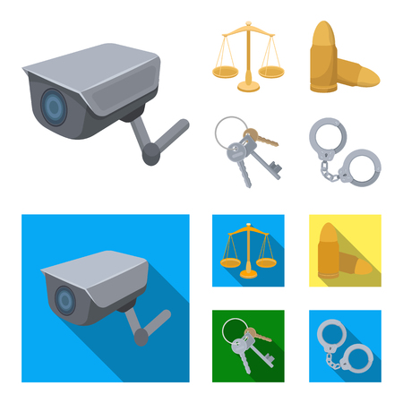 Scales of justice, cartridges, a bunch of keys, handcuffs.Prison set collection icons in cartoon,flat style vector symbol stock illustration. Illustration