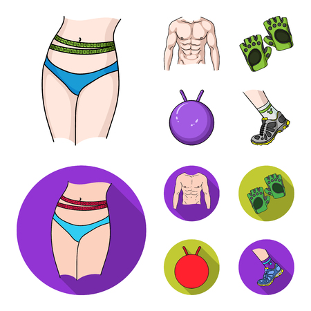 Mens torso, gymnastic gloves, jumping ball, sneakers. Fitnes set collection icons in cartoon,flat style vector symbol stock illustration . Ilustracja