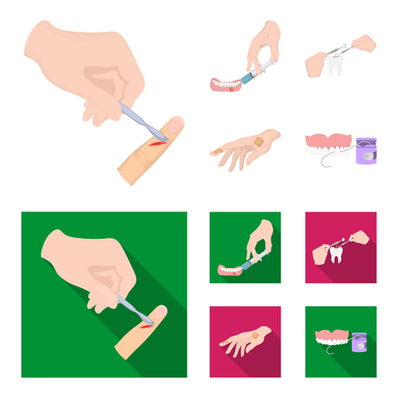 Anesthetic injection, dental instrument, hand manipulation, tooth cleaning and other  icon in cartoon,flat style. bactericidal plaster, medicine icons in set collection.