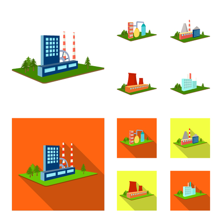 Processing factory,metallurgical plant. Factory and industry set collection icons in cartoon,flat style isometric vector symbol stock illustration .