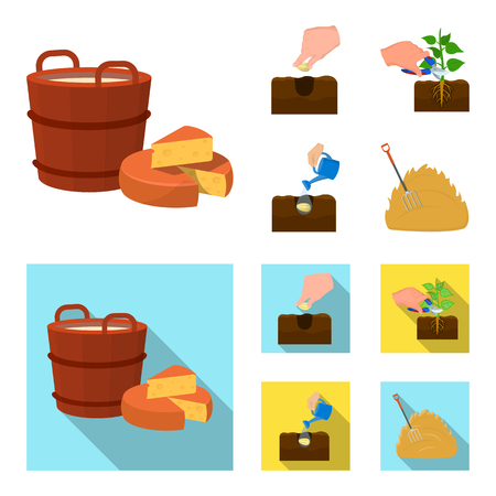 Garden, ecology, farmingand other  icon in cartoon,flat style. Feed, plot, farm,icons in set collection.