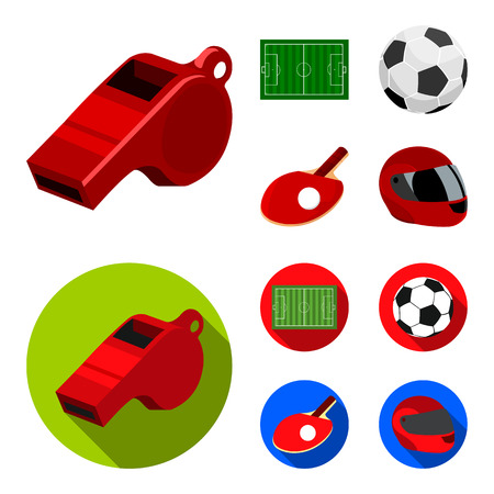 Field, stadium with markings for playing football, football ball, racket with a ball for ping-pong,protective helmet for the game, glove for baseball or rugby. Sport set collection icons in cartoon,flat ,flat style vector symbol stock illustration .