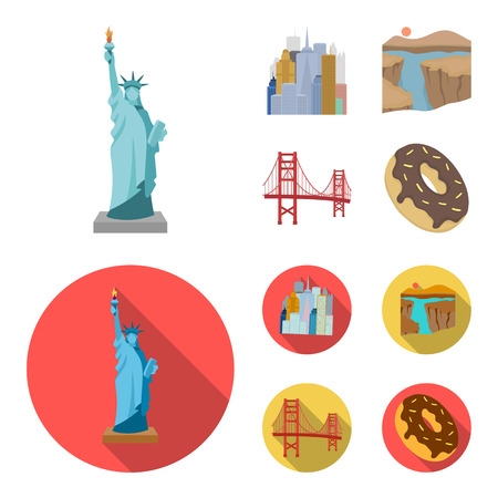 A megacity, a grand canyon, a golden gate bridge, donut with chocolate. The US country set collection icons in cartoon,flat style vector symbol stock illustration .