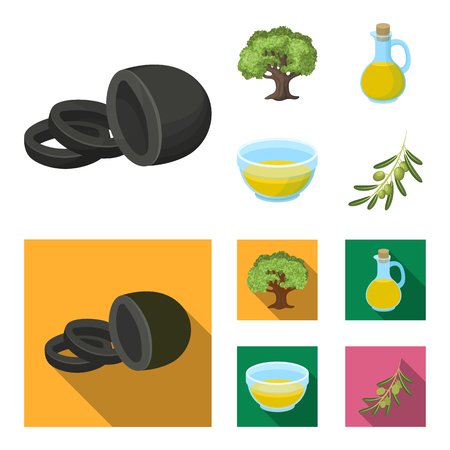 An olive tree, a branch with olives, a vessel and a jug of oil. Olives set collection icons in cartoon,flat style vector symbol stock illustration .