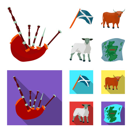The state flag of Andreev, Scotland, the bull, the sheep, the map of Scotland. Scotland set collection icons in cartoon,flat style vector symbol stock illustration .