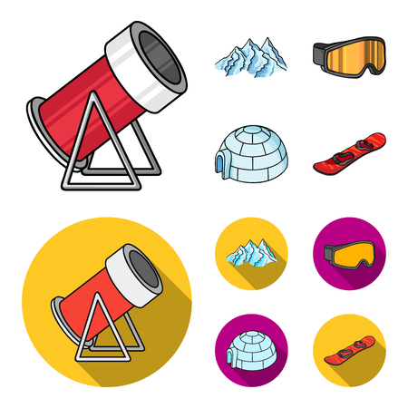 Mountains, goggles, an igloo, a snowboard. Ski resort set collection icons in cartoon,flat style vector symbol stock illustration .
