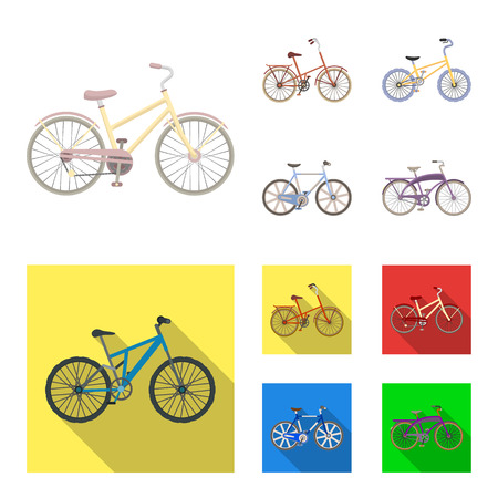 Children's bicycle and other kinds.Different bicycles set collection icons in cartoon,flat style vector symbol stock illustration .