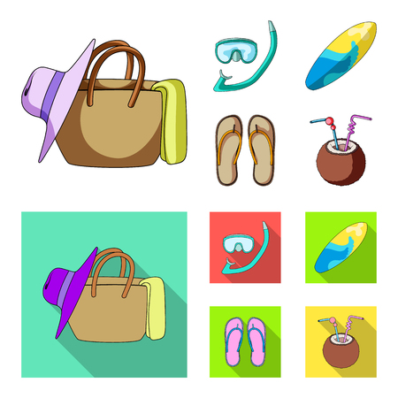 Diving, surfing, cocktail.Summer vacation set collection icons in cartoon,flat style vector symbol stock illustration . Stock Photo