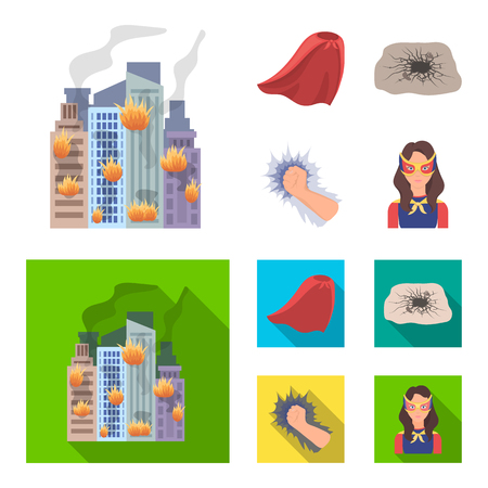 Cloak, red, clothes, and other  icon in flat style. Super, strength, girl, icons in set collection.