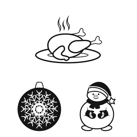 Christmas attributes and accessories black icons in set collection for design. Merry Christmas vector symbol stock web illustration. Ilustrace