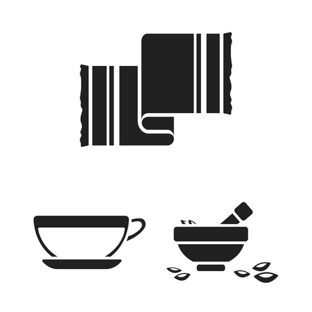 Spa salon and equipment black icons in set collection for design. Relaxation and rest vector symbol stock web illustration. Illusztráció