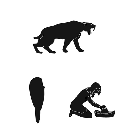 Life in the Stone Age black icons in set collection for design. Ancient people vector symbol stock web illustration.