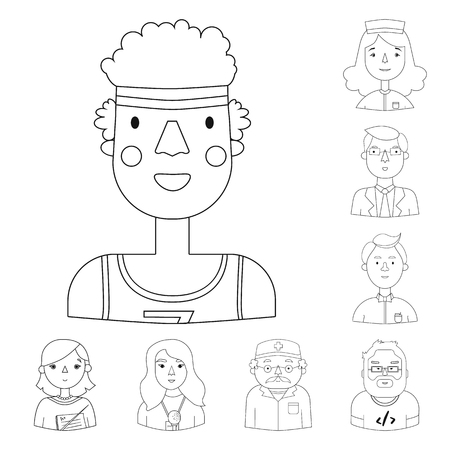 People of different professions outline icons in set collection for design. Worker and specialist vector symbol stock web illustration.