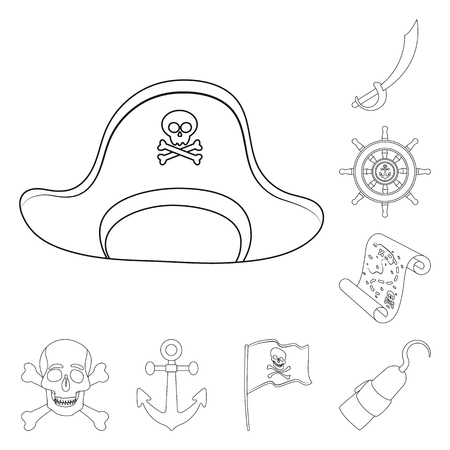 Pirate, sea robber outline icons in set collection for design. Treasures, attributes vector symbol stock web illustration. Vettoriali