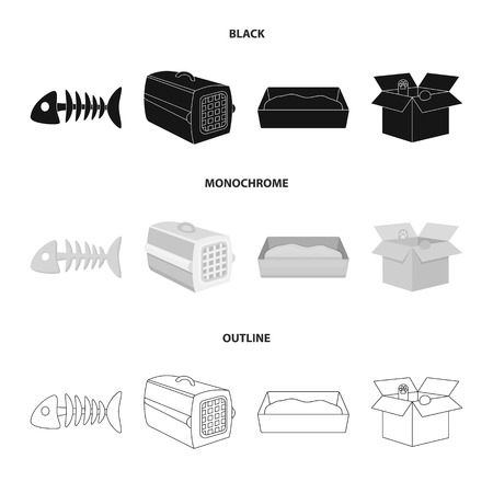 Fish bone, container for an animal, cats toilet, cat in a box. Cat set collection icons in black,monochrome,outline style vector symbol stock illustration web. Ilustração