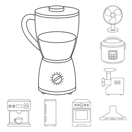 Tipos de electrodomésticos delinean los iconos de colección set de diseño.Equipo de cocina vector símbolo stock web ilustración.