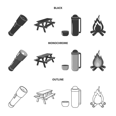 A flashlight, a table with a bench, a thermos with a cup, a caster. Camping set collection icons in black,monochrome,outline style vector symbol stock illustration web.
