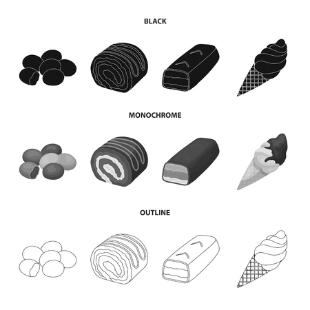 Dragee, roll, chocolate bar, ice cream. Chocolate desserts set collection icons in black,monochrome,outline style vector symbol stock illustration web. Illustration
