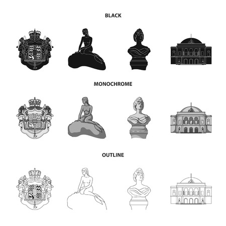 National, symbol, drawing, and other web icon in black,monochrome,outline style. Denmark, attributes, style, icons in set collection.