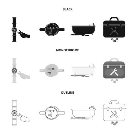 Water meter, bath and other equipment.Plumbing set collection icons in black,monochrome,outline style vector symbol stock illustration web. Ilustrace
