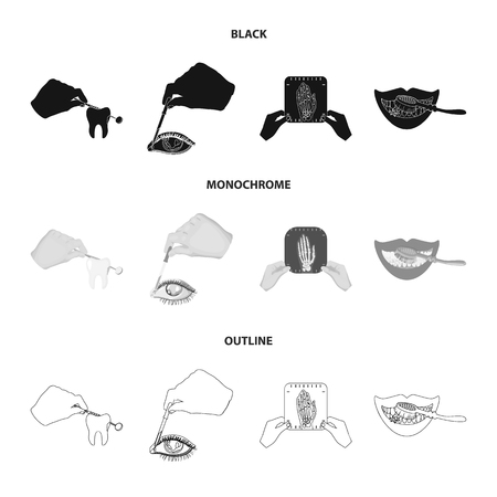 Examination of the tooth, instillation of the eye and other web icon in black,monochrome,outline style. A snapshot of the hand, teeth cleaning icons in set collection.